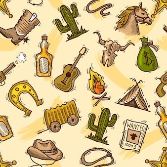 Wild west cowboy colorido padrão sem costura com guitarra cactus garrafa ilustração vetorial