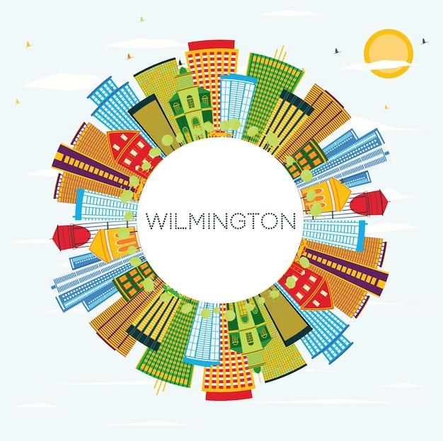 Wilmington delaware city skyline com edifícios de cor, céu azul e espaço de cópia. ilustração vetorial. viagem de negócios e conceito de turismo com edifícios modernos. wilmington cityscape com marcos.