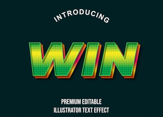 Win - estilo de efeito de texto em verde amarelo 3d