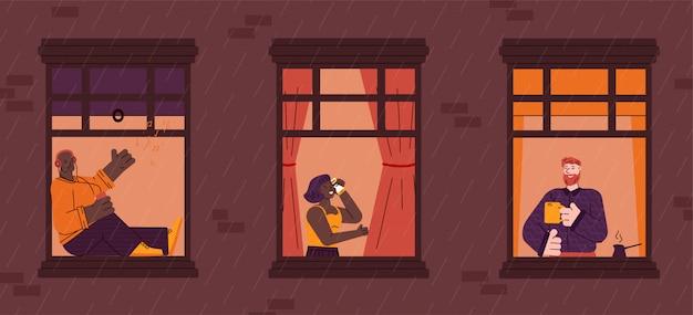 Windows com vida cotidiana dos vizinhos em apartamentos, ilustração dos desenhos animados.