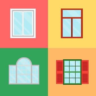 Windows dos desenhos animados definido com persianas na cor de fundo decoração edifício construção elemento rua urbana flat design estilo. ilustração vetorial