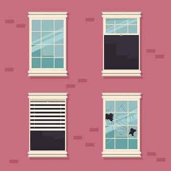 Windows quebrado, aberto, fechado e com cortinas em uma ilustração dos desenhos animados do vetor da parede de tijolo.