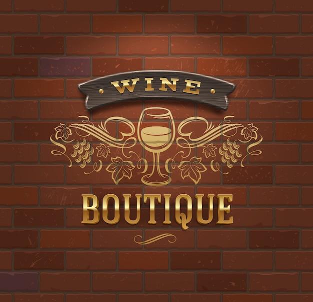 Wine boutique - tabuleta vintage na parede de tijolo - ilustração