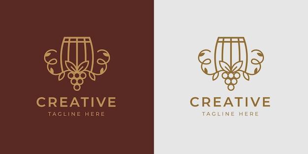Winery barrel logo design template vetor de barril com ramos vinho frutas vintage ícone moderno design de linha
