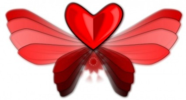 Wingloveheart clipe vector art - vector livre para download gratuito