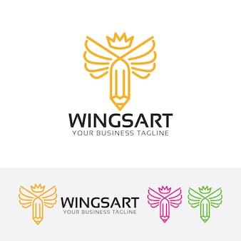 Wings art logo template
