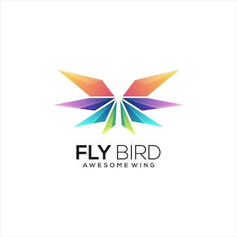 Wings logo colorful gradient abstract