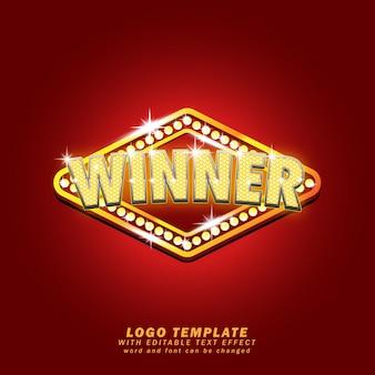 Winner sparkle light logo template efeito de texto editável