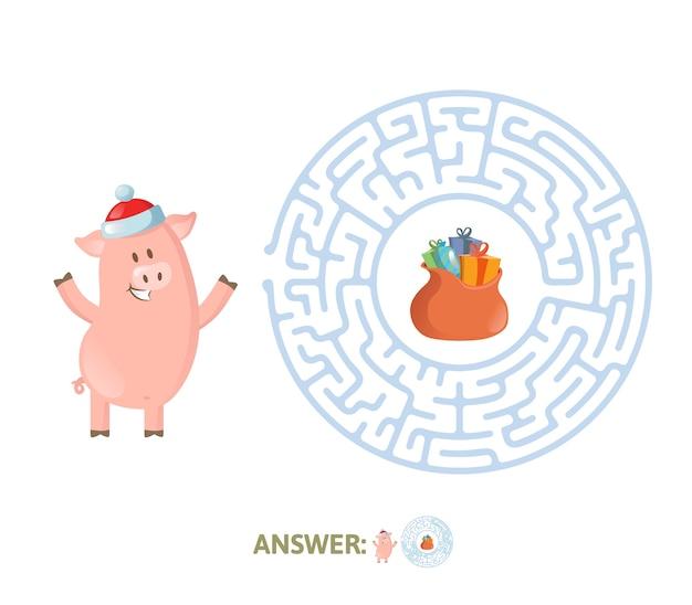 Winter maze game com engraçado personagem piggy e resposta. ajude piglet a encontrar seu caminho no labirinto. apartamento colorido. isolado em um fundo branco.
