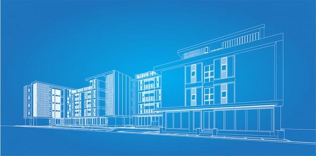 Wireframe 3d do edifício. desenho de esboço.