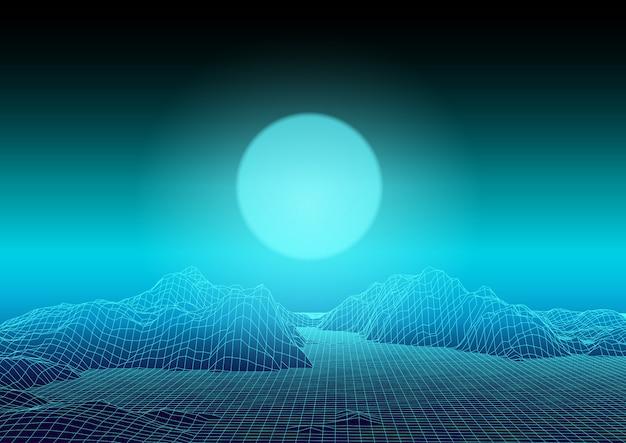 Wireframe abstrata paisagem techno design