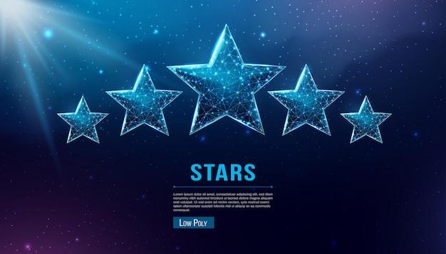 Wireframe cinco estrelas, estilo low poly. sucesso, vencedor, conceito de classificação. ilustração em vetor 3d moderna abstrata em fundo azul escuro.