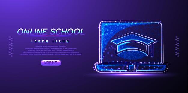 Wireframe de baixo poli da escola online