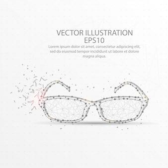 Wireframe de baixo poli de óculos