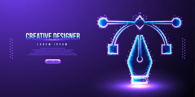 Wireframe de caneta de designer criativo