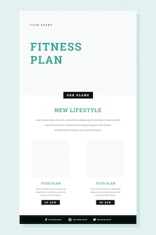 Wireframe de e-mail de fitness criativo