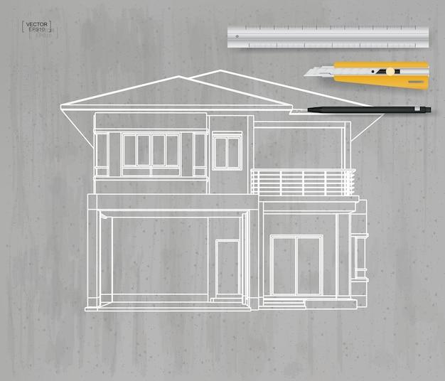 Wireframe de perspectiva 3d abstrata da casa em fundo cinza de textura de concreto. ilustração vetorial.