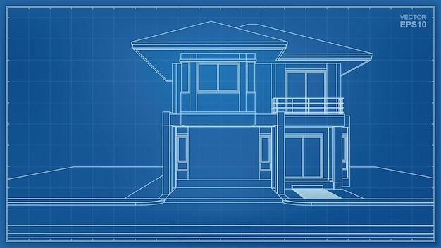 Wireframe de perspectiva 3d do exterior da casa. ilustração vetorial.