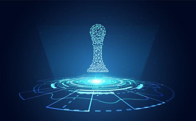 Wireframe de xadrez abstrata com tecnologia de círculo