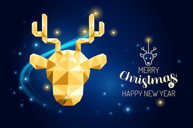 Wireframe feliz natal rena luxo ouro geometria concept design.vector ilustração.