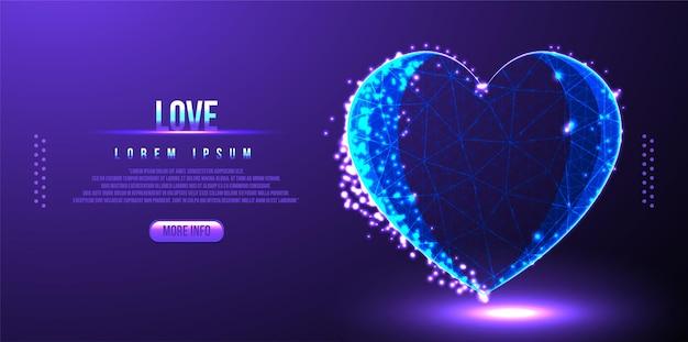Wireframe low poly amor dia dos namorados