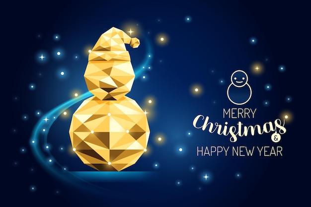 Wireframe merry christmas snowman luxo ouro geometria concept design.vector ilustração.