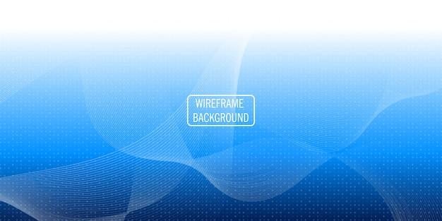 Wireframe onda abstrato azul