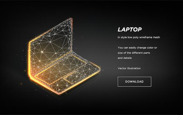 Wireframe poli baixo laptop em fundo escuro. ilustração de alta tecnologia portátil.