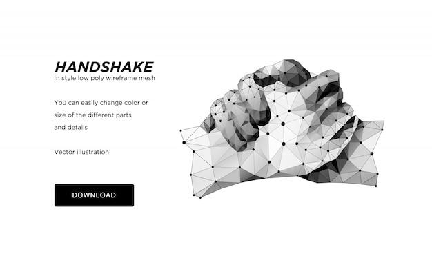 Wireframe poligonal de aperto de mão. mãos de uma pessoa ou um robô. o conceito de mãos de aço. ilustração poligonal