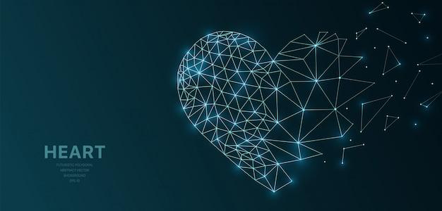 Wireframe poligonal malha futurista com coração