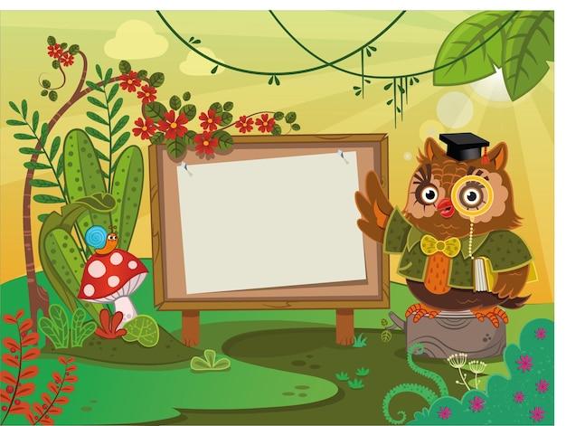 Wise owl com escrever uma placa em um cenário de natureza ilustração vetorial