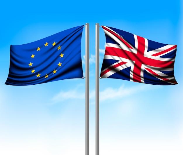 Wo bandeiras separadas - ue e reino unido. conceito brexit. vetor.