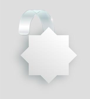 Wobbler branco em branco pendurar na parede mock up d renderização espaço redondo maquete de papel em plástico transparente ...
