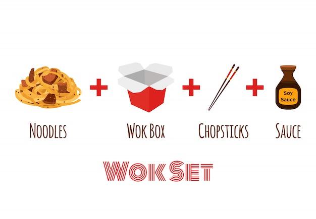Wok caixa com pauzinhos. comida asiática, entrega