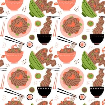 Wok com camarão e macarrão soba. comida tradicional asiática. cozinha chinesa e japonesa. padrão sem emenda com macarrão em tigelas.
