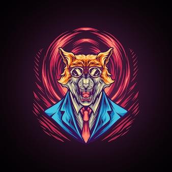 Wolfman mafia illustration