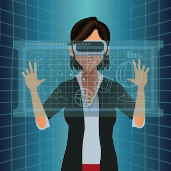 Woman with vr goggles touch diagram digital