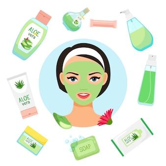 Womanl feliz com máscara facial, rodeada por cosméticos orgânicos