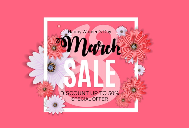 Womens day, 8 march sale banner projeto primavera com flor.