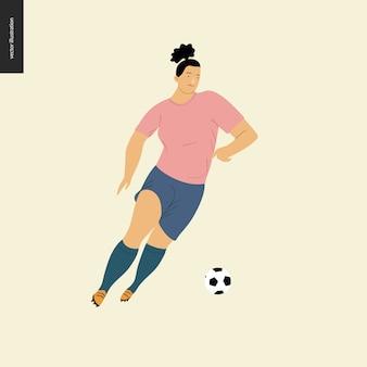 Womens futebol europeu, jogador de futebol - ilustração do vetor plana de uma jovem mulher vestindo equipamento de jogador de futebol europeu chutando uma bola de futebol