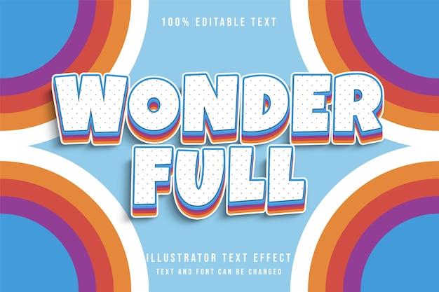 Wonderfull, efeito de texto editável 3d gradação azul laranja vermelho amarelo sombra em quadrinhos estilo de texto