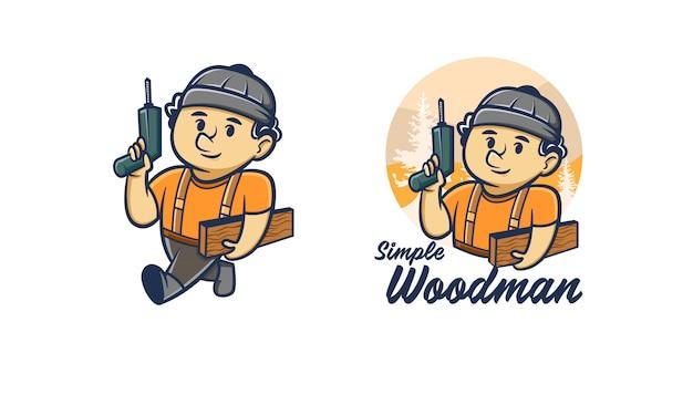 Woodman handyman logo mascot