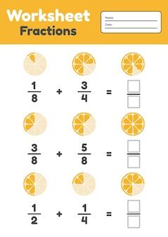 Woorsheet frações para crianças. adição. matemática para pré-escola e crianças em idade escolar. laranja. ilustração.