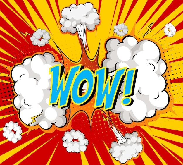 Word wow sobre explosão de nuvem em quadrinhos