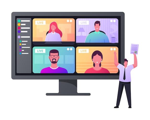 Workers webcam group conference com colegas de trabalho em um computador enorme.