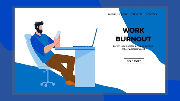 Workplace burnout estressado homem no local de trabalho vector. esgotamento do trabalho do funcionário, trabalhando em smartphone e computador na mesa do escritório. personagem empresário hard job web flat cartoon ilustração