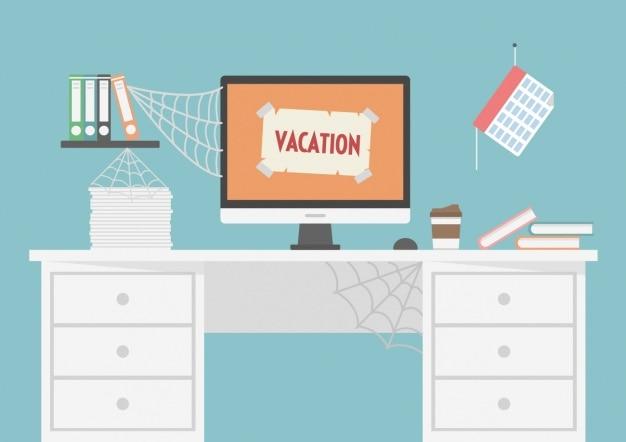 Workspace fechado para férias