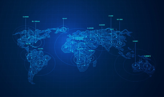 World big data, mapa do mundo com pontos