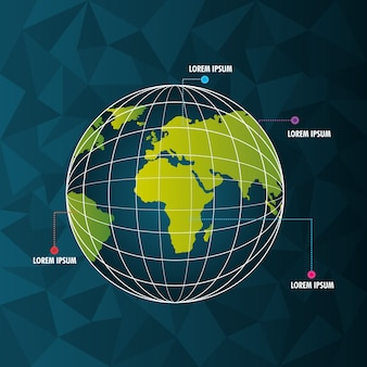 World infographic globe pointer different country