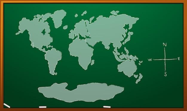 Worldmap na placa verde